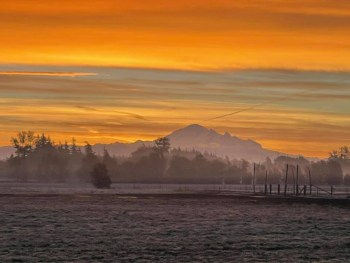 Sunrise as seen from Custer WA (October 12, 2021). Photo courtesy of Cindy Ryan